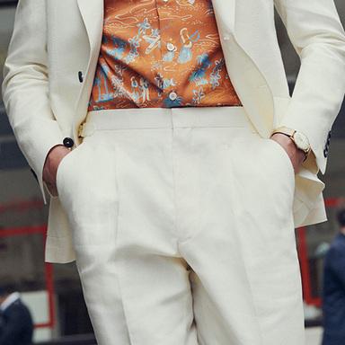Ivory Irish Linen Pleated Side Adjuster Trousers