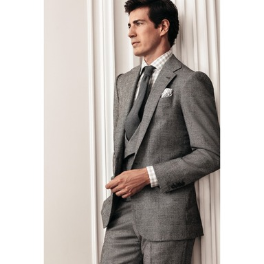 Black and Grey Wool and Cashmere Glen Check Single-Breasted Jacket