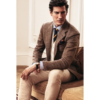 Brown Wool and Silk Prince of Wales Check Jacket
