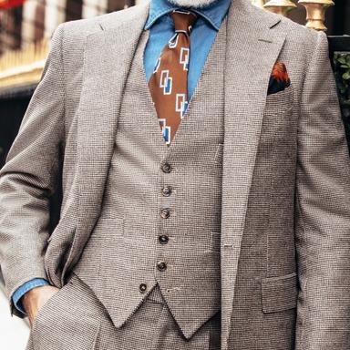 Brown Wool Puppytooth Waistcoat