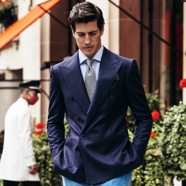 Navy Wool and Cashmere Double-Breasted Blazer