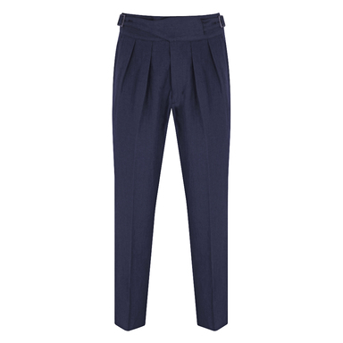 Navy Blue Linen Manny Trousers