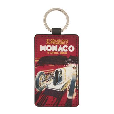 Red Leather Historic Monaco Grand Prix 1930 Keyring