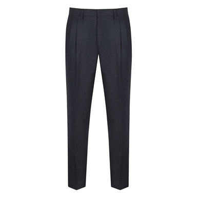 Denim Blue Pleated Wool Trousers