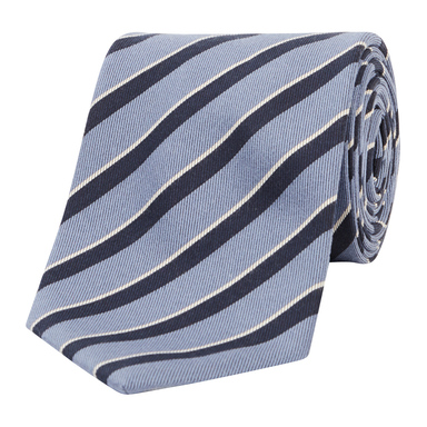 Navy-Pale Blue Asymmetric Stripe Silk Tie