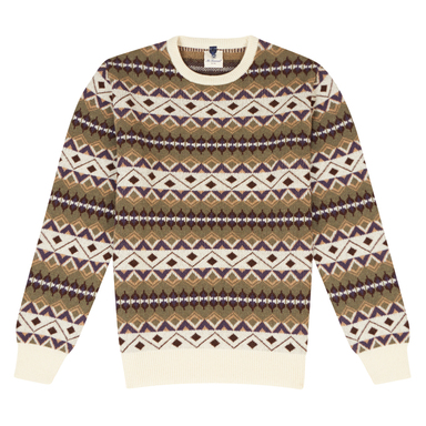 Blue, Brown and Khaki Wool Crew Neck Sweater