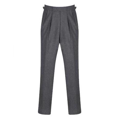 Mid-Grey Pleated Vitale Barberis Canonico Wool Flannel Aleksandar Trousers