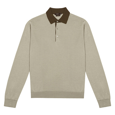 Grey Cashmere-Silk Long-Sleeved Polo Shirt