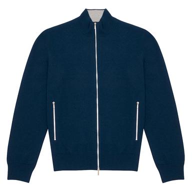Blue Cashmere Zipped Cardigan