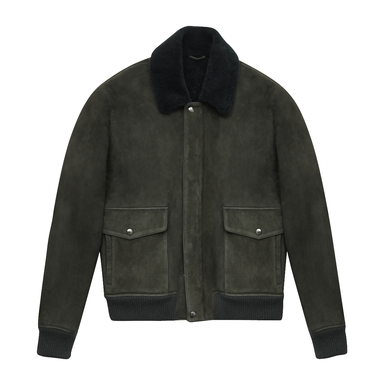 Green Suede Transatlantic Bomber with Shearling Collar