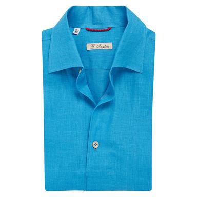 Turquoise Linen Capri Collar Shirt