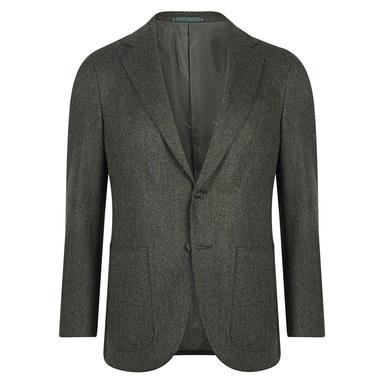 Green Herringbone Wool-Cotton Aida Suit Jacket