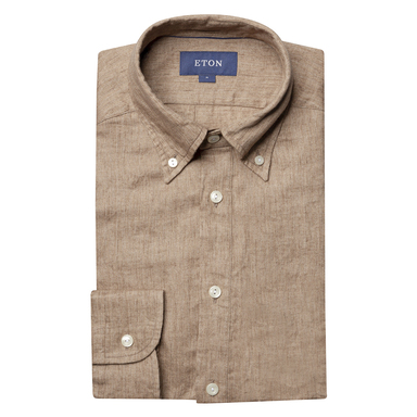 Beige Luxe Linen Casual Fit Popover Shirt