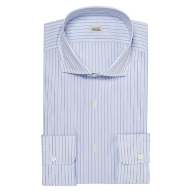 Light Blue Pinstriped Cotton Slim Fit Shirt