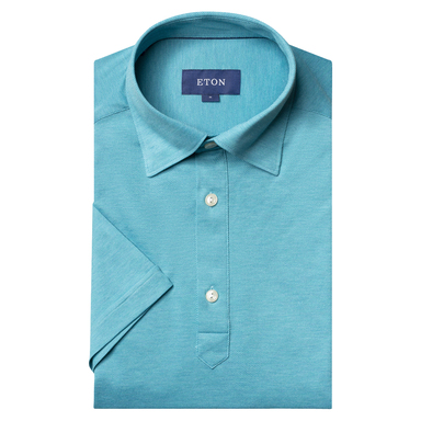Turquoise Piqué Short Sleeve Cotton Slim Fit Polo Shirt