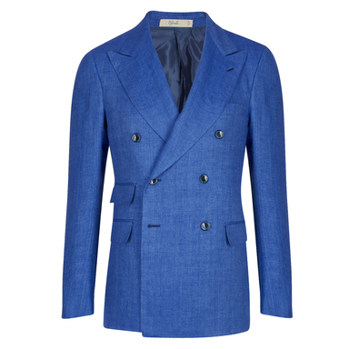 Cerulean Double-Breasted Linen Jacket