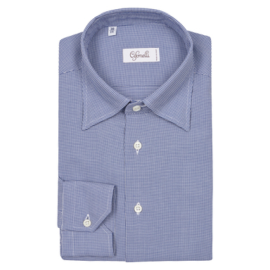 Blue Houndstooth Slim Cotton Shirt