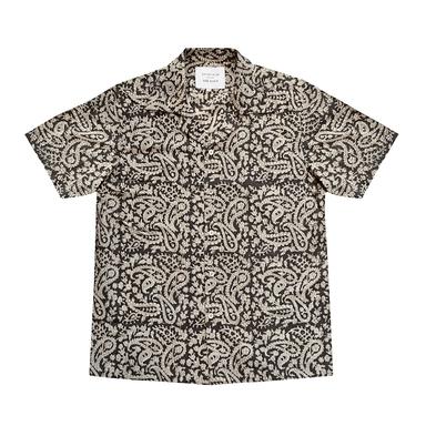 Black Block Print Short Sleeved Shirt