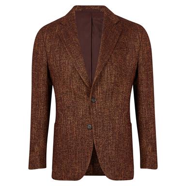 Brown Herringbone Patch Pocket Jacket