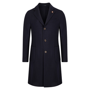Navy Single Breasted Coat With Patch Pockets