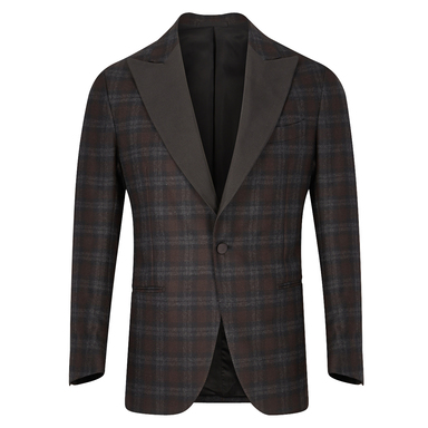 Brown & Grey Check Single-Breasted Vomero Smoking Jacket