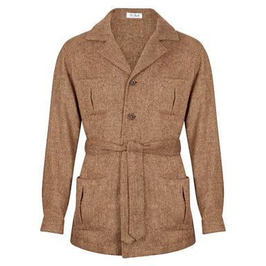 Light Brown Wool Herringbone Sahariana