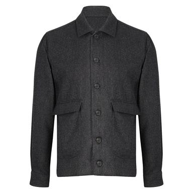 Charcoal Grey Wool Herringbone Bomber Jacket
