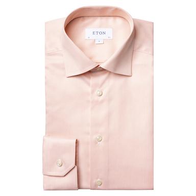 Orange Twill Navy Piping Slim Fit Shirt