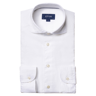 White Cotton and Silk Contemporary Fit Shirt
