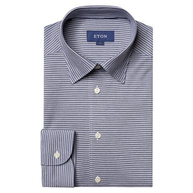 Slim Fit Navy Striped Piqué Shirt