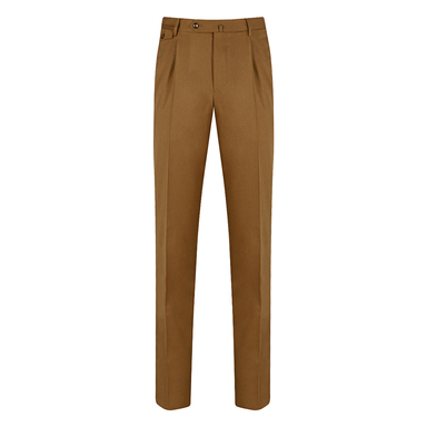 Tawny Brown Wool Reverse-Facing Pleated Trousers