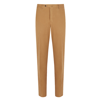 Camel Cotton Flat Front Chinos