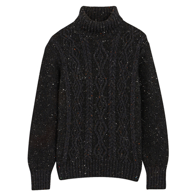 Charcoal Aran Cashmere Wool Rollneck Jumper
