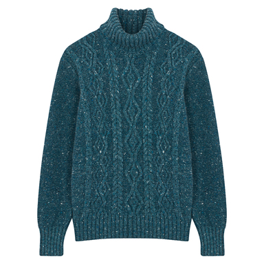 Offaly Cashmere and Merino Wool Trellis Turtleneck Sweater