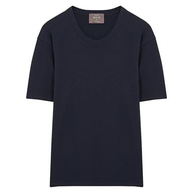 Navy Short Sleeve Cotton Interlock Jersey T-Shirt