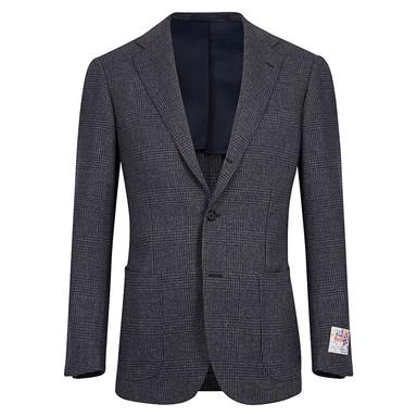Grey Wool Glen Check Suit Jacket