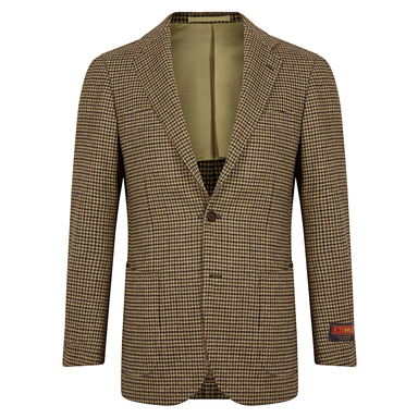 Brown Tweed Dogstooth Balloon Jacket