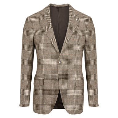 Grey and Yellow Wool Prince of Wales Check Jacket