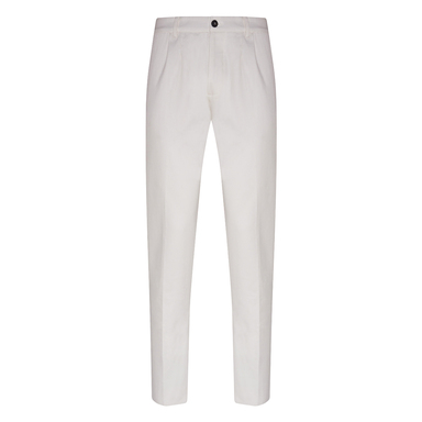 White Cotton Twill Pences Trousers