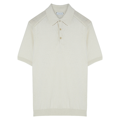 Cream Cotton Knitted Polo Shirt