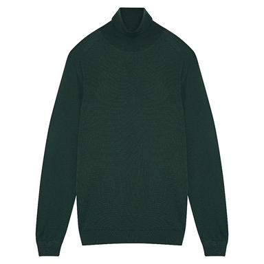 Green Cotton Knitted Turtleneck Jumper