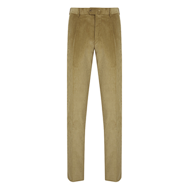 Beige Corduroy Pleated Trousers