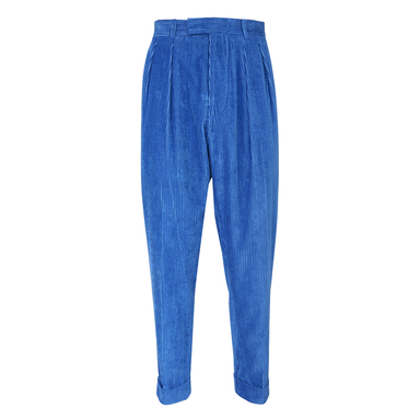Blue Cotton and Linen Corduroy Trousers