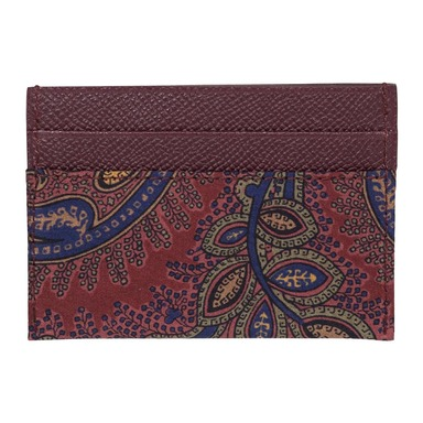 Burgundy Leather Paisley Card Holder
