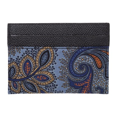 Navy Blue Leather Paisley Card Holder