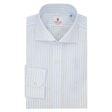 Azure Cotton and Linen Big Zevi Striped Shirt