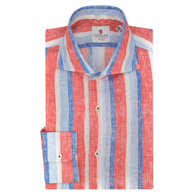 Azure Blue and Red Linen Striped Shirt