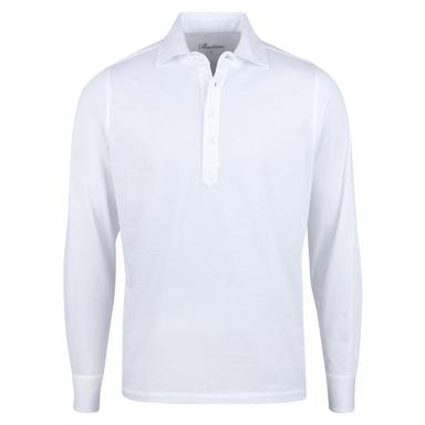 White Cotton Pop Over Long Sleeve Shirt