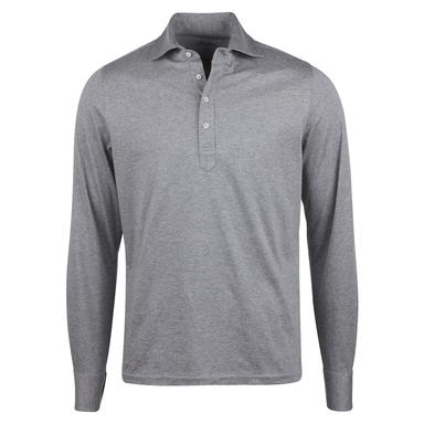Grey Cotton Pop Over Long Sleeve Shirt
