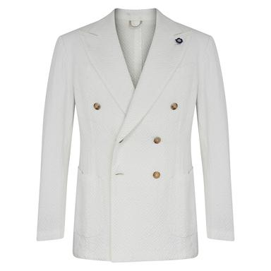 White Cotton Seersucker Double-Breasted Jacket